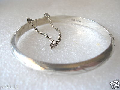 "STERLING SILVER ETCHED CHILDS BANGLE WRIST 6 1/4"" (15.8cm)"