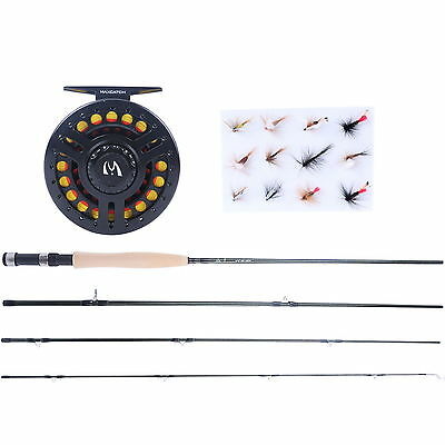 """Fly Rod Combo 8'6"""" 5WT Fly Rod & 5/6WT Graphite Fly Reel & Fly Line & Flies"""