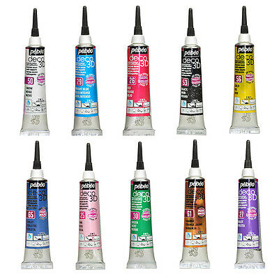Pebeo Deco 3D Dimensional Paint 20ml Tube - 34 Colours for Art, Craft, DIY