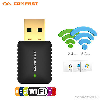 Mini 600Mbps USB 2.4GHz/5GHz Dual Band Wireless WiFi Adapter 802.11AC Dongle