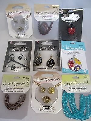 100x MIXED JEWELLERY MAKING CRAFT ITEMS~ACCENTS~BEADS~CHARMS~SPACERS~GEMS~GLASS~