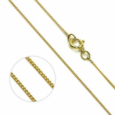 "375 Solid 9ct Yellow Gold Diamond Cut Fine Curb Chain Link Necklace 16"" 18"" 20"""