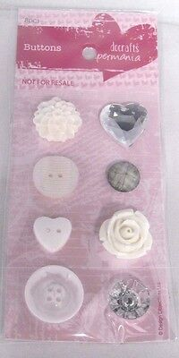 PAPERMANIA~ FANCY BUTTONS~8pcs~CRAFT~CARDS~ART~SEWING~SCRAPBOOKING~