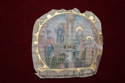 Medieval Miniature -The Miracle At Cana Vellum Manuscript Strasbourg 1460 #b834S