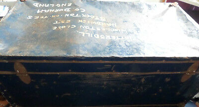 Large Vintage Shipping Trunk, Metal Container Last Journey Labelled New York 67