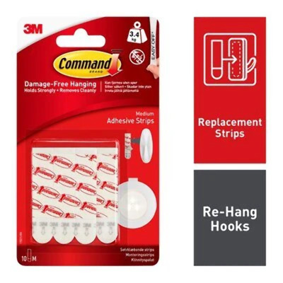 Command Medium Strips Picture Poster Hangers 9 Medium Refill Strips 17021P-ES