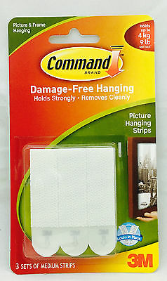 3M Command Medium Picture Poster Adhesive Damage Free Hanging Strips 17201
