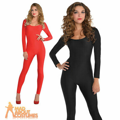 Adult Catsuit Black Red Kitty Devil Halloween Jumpsuit Ladies Fancy Dress Outfit