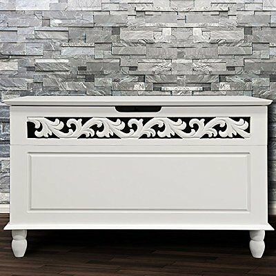 White Wooden Storage Antique Deluxe Cupboard Cabinet Side Table Room Furniture