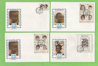 Rwanda 1979 International Year of the Child issues on four First Day Covers