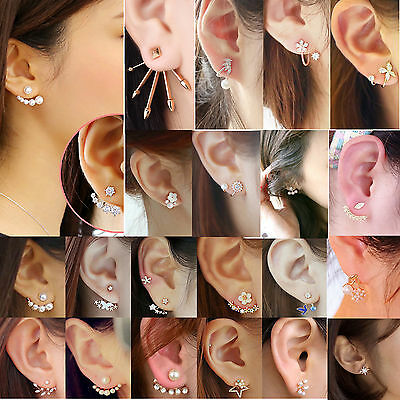 Fashion Women Jewelry Elegant Crystal Rhinestone Ear Stud Pearl Flower Earrings