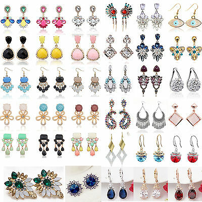 1 Pair New Elegant Women Fashion Rhinestone Ear Stud Earrings Crystal Chain