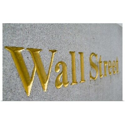 Poster Print Wall Art entitled Gold letters on  Wall Street in New York City,
