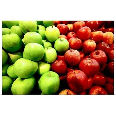 Poster Print Wall Art entitled Green apples and red apples