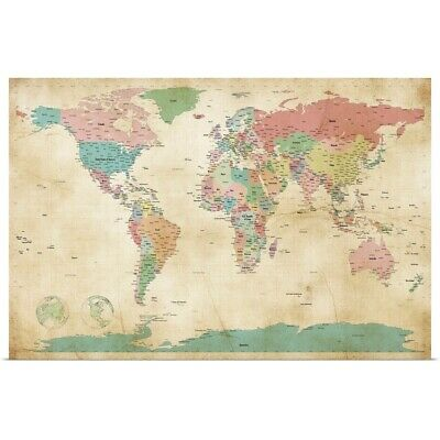 "Poster Print ""Political Map of the World Map, Antique"""