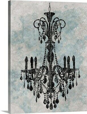 Premium Thick-Wrap Canvas Wall Art entitled Chandelier with a splash of blue II