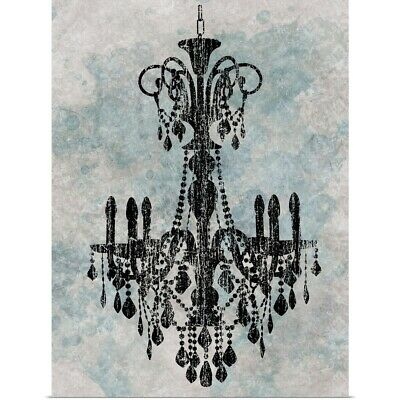 Poster Print Wall Art entitled Chandelier with a splash of blue II