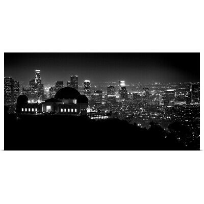 """View of Los Angeles at night from the Griffith Park Observatory"" Poster Print"
