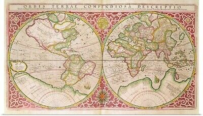 Poster Print Wall Art entitled Double Hemisphere World Map, 1587 (coloured
