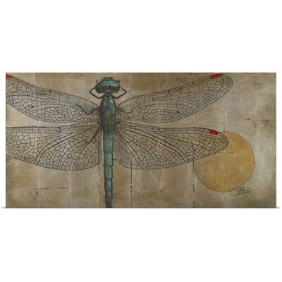 Poster Print Wall Art entitled Dragonfly on Silver