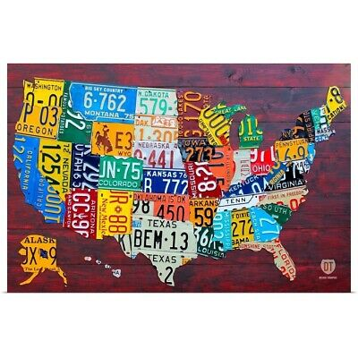 Poster Print Wall Art entitled License Plate Map USA Large