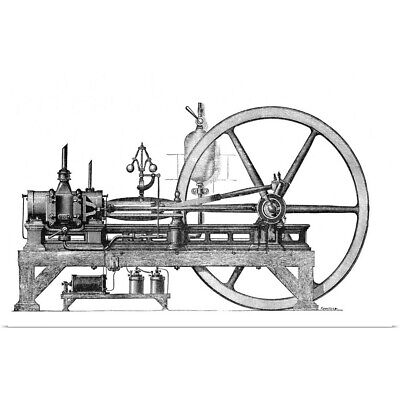 Poster Print Wall Art entitled 19th Century internal combustion engine