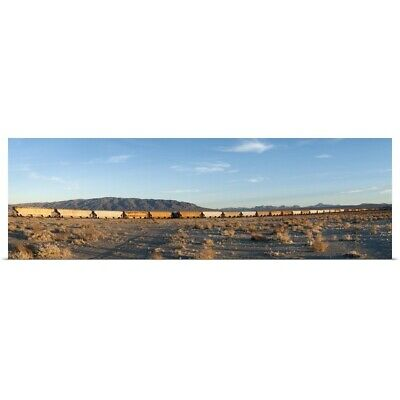 Poster Print Wall Art entitled Train moving on railroad track, Trona, San