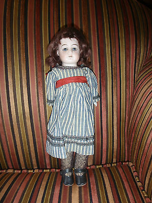 """Antique Germa/French 14"""" Bisque CollectibleDoll Leather Body with Sawdust"""