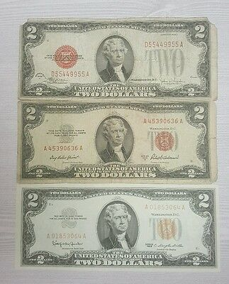 Old $2.00 Red Seal Collection 1928, 1953, & 1963 - United States Notes