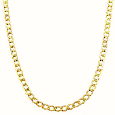 "Solid 375 9CT Yellow Gold CURB Link Necklace / Chain 16"" 18"" 20"" *Diamond Cut*"