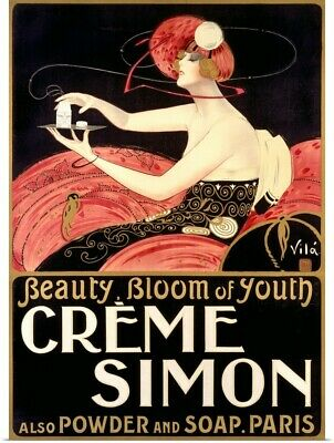 Poster Print Wall Art entitled Creme Simon, Beauty, Bloom of Youth,Vintage