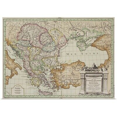Poster Print Wall Art entitled Antique map of Eastern Europe