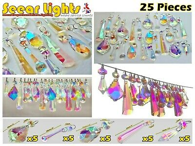 Ab Glass Crystals Light Drops Retro 25 Chandelier Beads Christmas Tree Ornaments