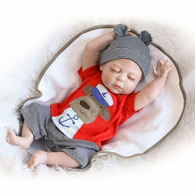 "22"" Boy Full Body Silicone Reborn Baby Sleeping Doll Soft Vinyl Lifelike Newborn"