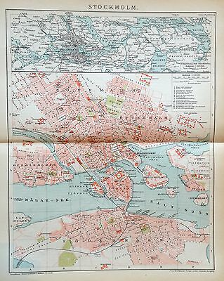 1897 STOCKHOLM alte Landkarte antique map Lithographie Schweden Sweden