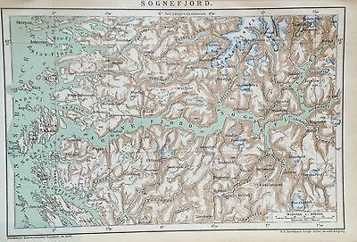 1897 SOGNEFJORD alte Landkarte antique map Lithographie Norwegen Norway