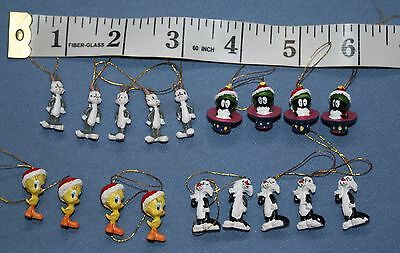 "Looney Tunes Miniature Christmas Ornaments Tweety Bugs Bunny 3/4"" Sylvester"