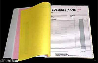 5x A4 Customised Printed Duplicate Carbonless QUOTE/Tax INVOICE Book Free Design