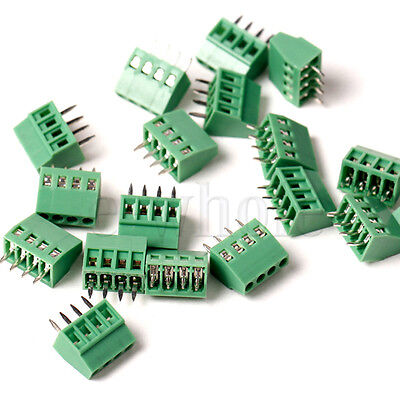 5x 4-way 4 Pin Screw Terminal Block Connector 2.54mm Pitch PCB Mount WT