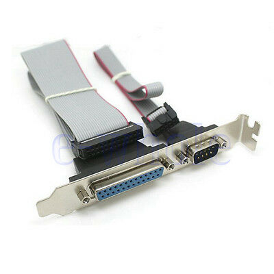 Serial DB9 COM with Parallel DB25 LPT to 10Pin 26Pin IDC Cable Header Bracket WT