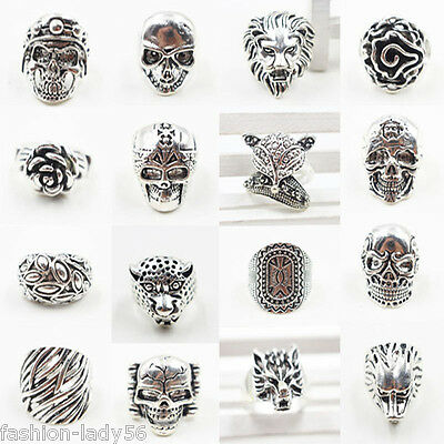 Men's Vintage  Zinc Alloy Antique Silver Mens Index Finger Ring Jewelry For Gift