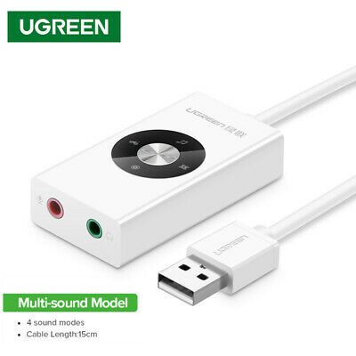 UGREEN Audio Sound Card Adapter USB 2.0 Channel 5.1 3D Virtual For Laptop PC