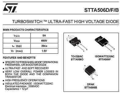 Stta506F Turboswitch Ultra-Fast High Voltage Diode