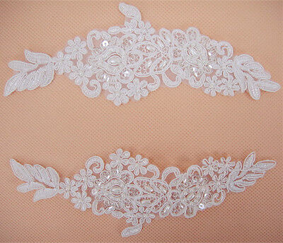 Beaded Wedding Motif Floral Off White Sewing Trim Bridal Lace Applique 1 Pair