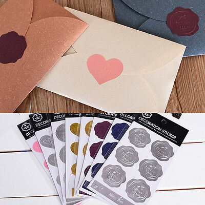 6Pcs Vintage Meaningful Envelope Seal Sticker Wrapping Metallic Decoration Gift