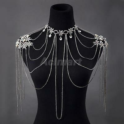 Crystal Necklace Shoulder Body Chain Earring Wedding Bridal Jewelry Set