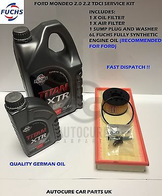 Ford Mondeo Mk3 2.0 2.2 Tdci Service Kit Filters Oil Air  S Plug + 6L 5W30 Oil