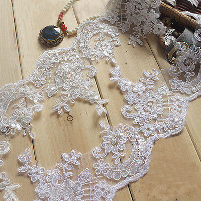 """Corded Bridal Lace Trimming Embroidered Trim Sequin Wedding Floral Edging 4.5"""""""