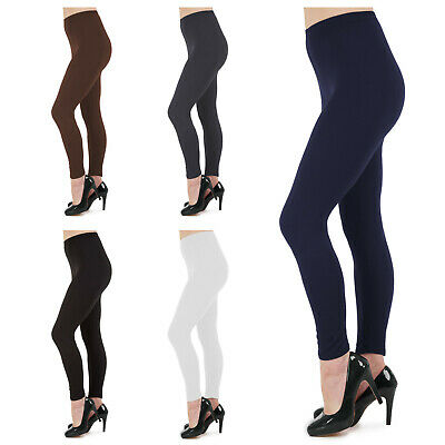 Womens Ladies Full Length Soft Cotton Leggings Size 6 8 10 12 14 16 18 20 22