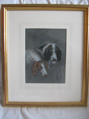 Early 20th century original signed pastel Pair of Spaniel dogs by L W Fraser